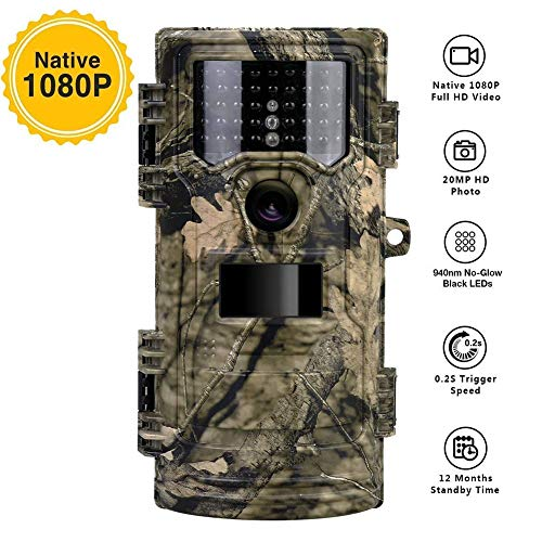 - Wildlife Trail Camera, 1080P 20MP 0.2s Trigger Speed Motion Activated Infrared Night Vision 70ft / 20m IP54 Waterproof with 2.4