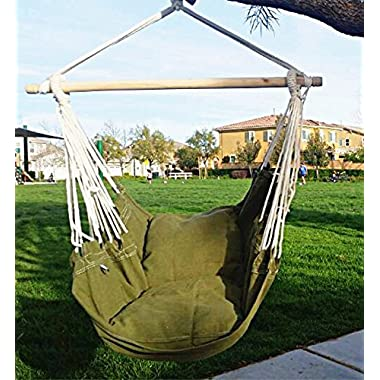 Hammock Chair Hanging Rope Chair Porch Swing Outdoor Chairs Lounge Camp Seat At Patio Lawn Garden Backyard Army Green