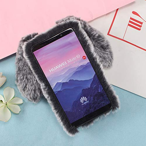 Huawei Gray Case for Huawei Huawei Mate Silicone Mate 10 Furry Rabbit Stysen 10 Case for Pink Protective Lovely 10 Warm Mate Cover Case Cartoon Ear Dark for Plush qHxtEwF