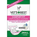 Vet's Best Comfort Fit Disposable Female Diapers, 12 Count,Small