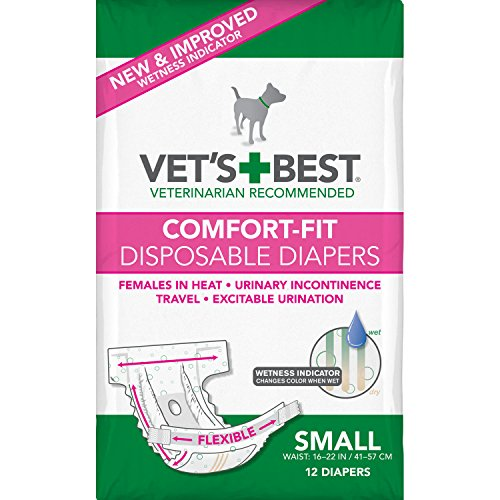 Vet's Best Comfort Fit Dog Diapers | Disposable Female Dog Diapers | Absorbent with Leak Proof Fit | Small, 12 Count