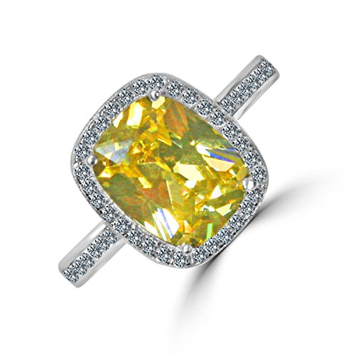 Diamond Veneer - 3 CT. (10x8mm) Emerald Cushion Radiant Center w/Halo Pave Electro-Plate Ring (Canary, 9)