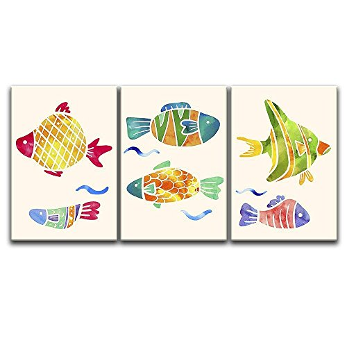 3 Panel Watercolor Style Colorful Fish x 3 Panels