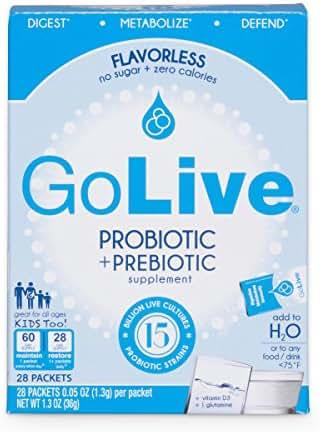 GoLive Probiotic and Prebiotic Supplement Blend, Flavorless, 28-Count