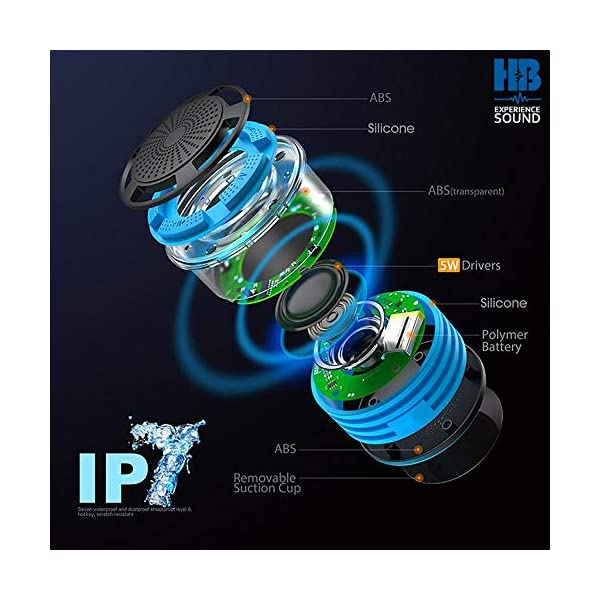 Radios de Douche - Hydro-Beat Illumination. Haut-parleur IPX7 portable entièrement étanche à l'eau avec radio FM intégrée et lumières d'ambiance LED. Rechargeable à l'aide de micro USB. (Bleu et Noir) 4