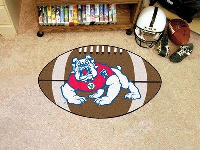 Football Floor Mat w Plush Carpet and Fresno State Bulldogs Logo