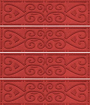 AquaShield Scroll Stair Treads, 8.5 by 30-Inch, Solid Red, Set of 4