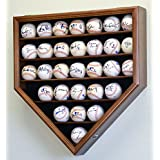 30 Baseball Display Case Cabinet Holder Rack Home Plate Shaped w/ UV Protection- Lockable -Walnut