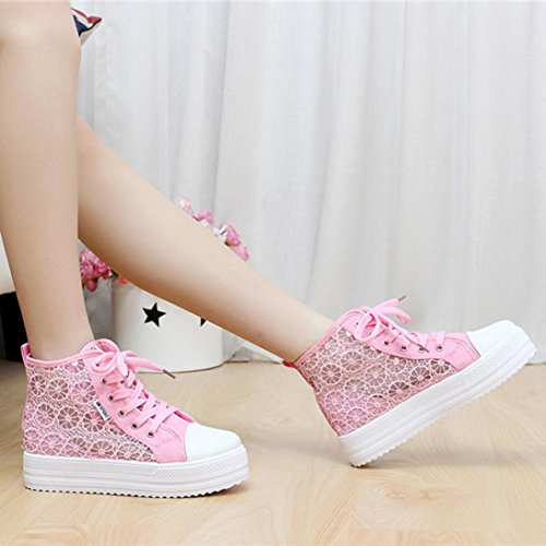 Transer Ladies Hollow Floral Running Sneakers Flats Shoes, Women Comfy Casual Work Loafers Lazy Canvas Shoes Pink