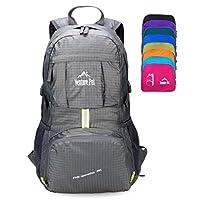 Mochila de mochila de viaje de viaje duradera, liviana, empacable, liviana (gris)