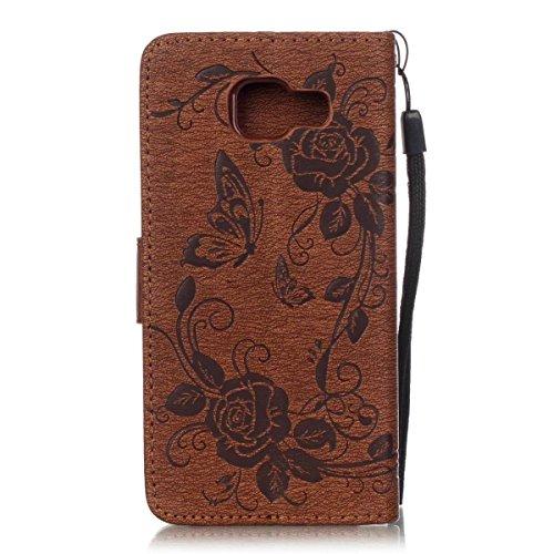 JIALUN-Personality teléfono shell Funda Samsung A310, caja de Kickstand de la cubierta de la caja del diamante artificial de la mariposa en relieve con las tarjetas y los titulares de efectivo para Sa Brown