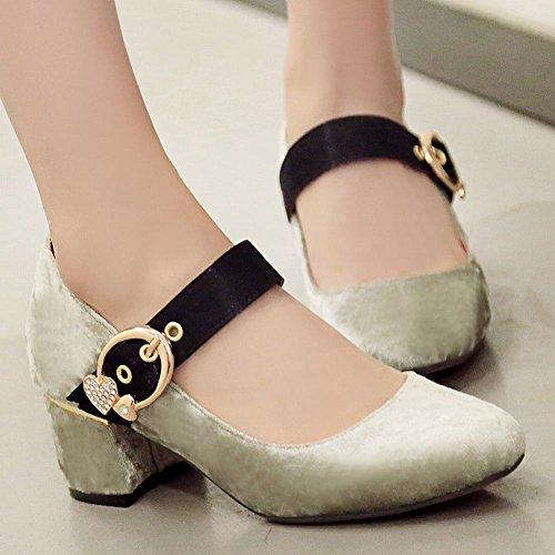 Mee Shoes Damen instep strap chunky heels Schnalle Pumps Grau