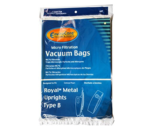 3 Royal Metal Uprights Type B Microfiltration Anti-Allergen Vacuum Cleaner Bags