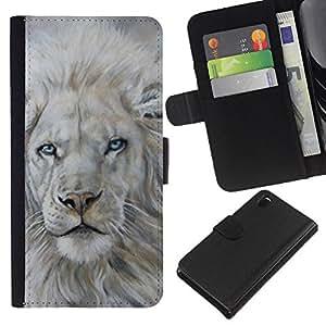 KLONGSHOP // Tirón de la caja Cartera de cuero con ranuras para tarjetas - White Lion Nieve Pintura Rey Piel animal - Sony Xperia Z3 D6603 //