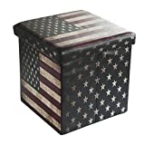 5 ft console table - Bailey Faux Leather Folding Storage Ottoman with U.S.Flag Footrest Coffee Table 15'x15'x15