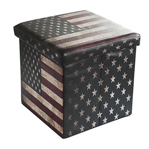 Bailey Faux Leather Folding Storage Ottoman with U.S.Flag Footrest Coffee Table 15'x15'x15