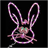 18' LED Lighted Easter Bunny Head Window Silhouette Decoration Indoor and Outdoor Use (PINK)