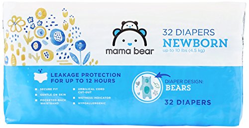 Amazon Brand - Mama Bear Diapers, Newborn, 32 Count, Bears Print