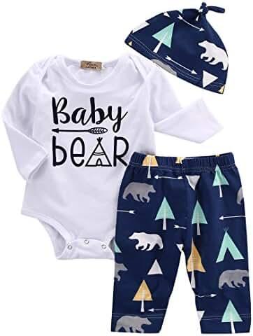 Unisex Toddler Infant Newborn Girl Boy Baby Bear Romper Pants 3pcs Outfits Set