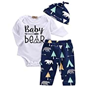 Unisex Toddler Infant Newborn Girl Boy Baby Bear Romper Pants 3pcs Outfits Set(0-3 Months/Tag 70, Blue)
