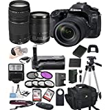 Canon EOS 80D Digital SLR Camera w/ EF-S 18-135mm USM + 75-300mm Telephoto Zoom Lens Bundle includes Camera, Lenses, Filters, Bag, Memory Cards , Power Grip, Tripod ,and More - International Version