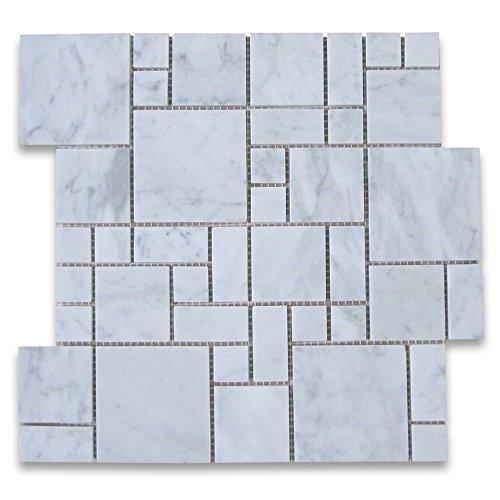 Marble Versailles - Carrara White Italian Carrera Marble Mini Versailles French Pattern Mosaic Tiles Honed