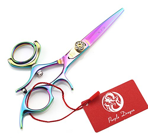 Purple Dragon 5.5 inch Multicolor Barber Swivel Hair Cutting Scissors/Shears Set- Perfect for Professional Hairdresser