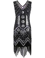 PrettyGuide Women's 1920s V Neck Beaded Sequin Art Deco Gatsby Inspired Flapper Dress
