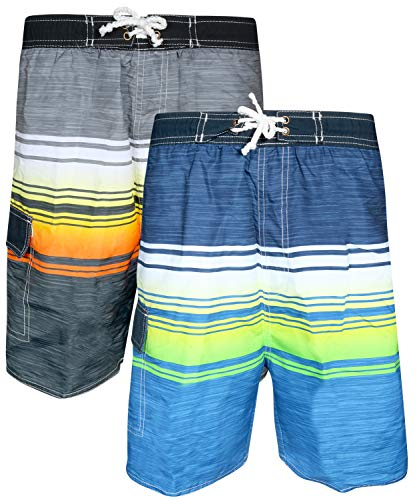 Quad Seven Boys' Striped Swim Trunks (2 Pack), Grey Orange/Navy Green, Size 4'