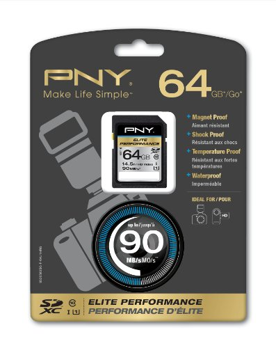 PNY Elite Performance 64GB UHS-1 SDXC Flash Card (P-SDX64U1H-GE-A)