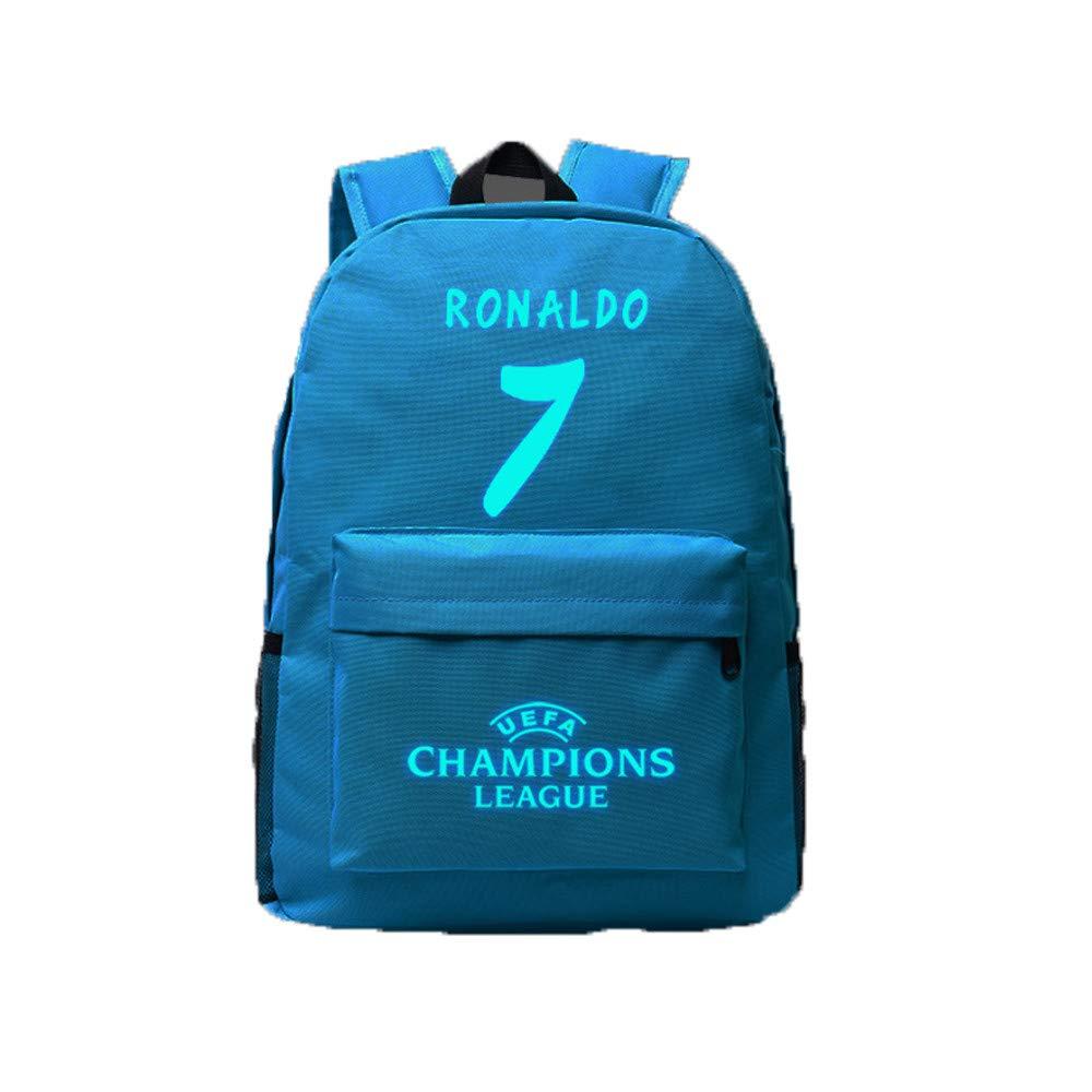 Luminous Backpacks Ronaldo Fans Gift, Enjoyfeel Real Madrid Laptop Shoulder Bag for School Outdoor Travel (Black)