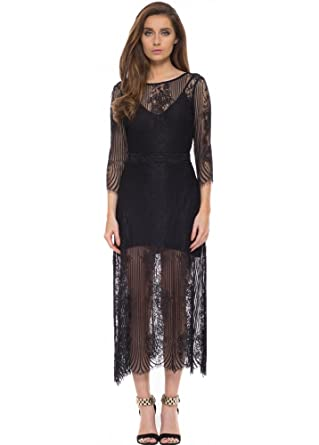 9e000cc8ab7 For Love   Lemons San Marcos Black Lace Maxi Dress with Open Back X Small  Black