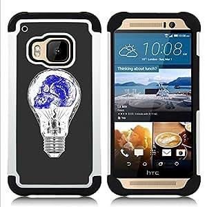 """Pulsar ( Bombilla Azul Blanco Idea cráneo profundo"""" ) HTC One M9 /M9s / One Hima híbrida Heavy Duty Impact pesado deber de protección a los choques caso Carcasa de parachoques"""