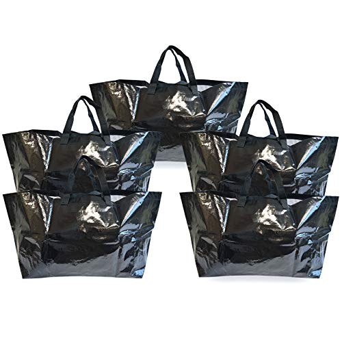 (Prime Line Packaging 5 Pcs. Large Tote Bags for Carrying Bulk Items, Storage Shopping Bags, Extra Large Reusable Bags - 21x13x14)