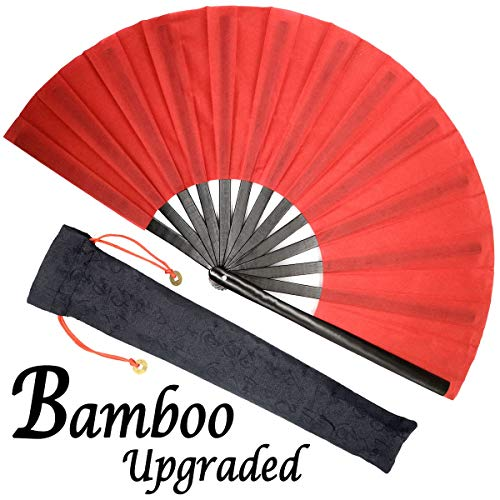 OMyTea Bamboo Large Rave Festival Folding Hand Fan for Men/Women - Chinese Japanese Solid Color Kung Fu Tai Chi Handheld Fan with Fabric Case - for Performance, Decorations, Dancing, Gift (Red)