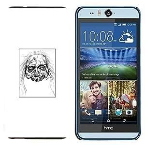 YiPhone /// Prima de resorte delgada de la cubierta del caso de Shell Armor - Zombie Head - White Walker - HTC Desire Eye M910x