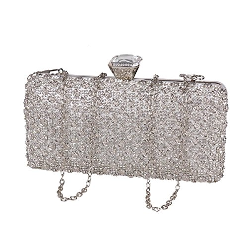 Hard Women Party Shining Flowers Decoration Crystal Metal Damara Gold Bag xZq6Pwqg