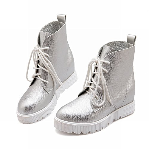 Carolbar Womens Lace up Simple Comfort Casual Hidden Wedge Heel Fashion Sneakers Silver l6s1T