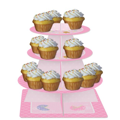 Creative Converting Baby Shower Teddy Baby Pink Tiered Server Cupcake (Stand Teddy)