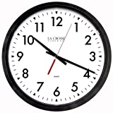 Lacrosse 404-2636-INT Commercial Analog Wall Clock, 14'', Black