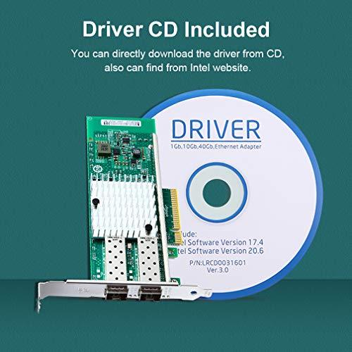 10Gb PCI-E Network Card X520-DA2, Dual SFP+ Ports for Intel 82599ES  Chipest, 10G PCI Express NIC Support Windows Server, Win 7/8/10/Visa,  Linux,