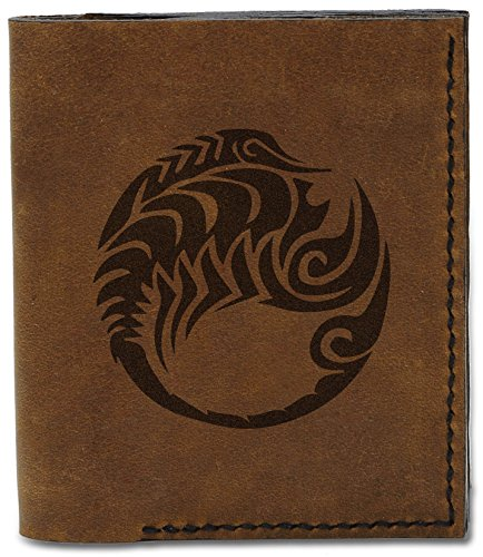 Scorpio MHLT Tattoo b Leather Genuine Style Men's Handmade 04 Natural Zodiac Tattoo Wallet qvpgxAU