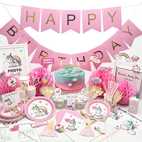 Unicorn Party Supplies Set - Tableware and Decorations serves 16 - Girls birthday party supply set - Unicorn theme baby shower kit - Eco-friendly plates, cups, napkins, straws, wooden cutlery, -