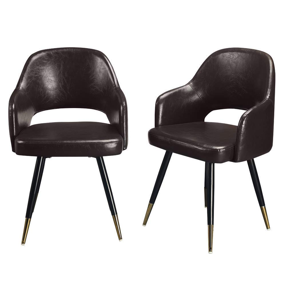 Amazon com greenforest accent chairs modern leather chairs pu seats for living room with metal legs set of 2 dark brown kitchen dining