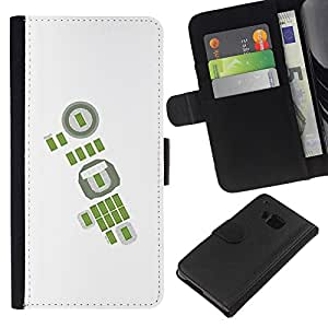 ZCell / HTC One M7 / Green Abstract White Football Soccer / Caso Shell Armor Funda Case Cover Wallet / Verde extracto negro Fútbol ??F&uac