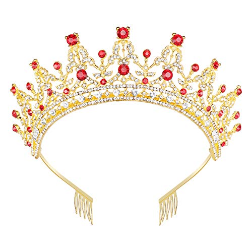 Makone Queen Crown for Womens Gold Tiara with Red Rhinestone for Halloween Birthday Girls Prom Halloween Bridal Party