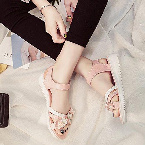 Minetom Mujer Verano Moda Dulce Peep Toe Sandalias Bohemia Floral Diamante De Imitación Plana Zapatos Zapatillas De Playa Rosa
