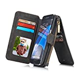 RAYTOP® 15-Slot Card Holders, Samsung Galaxy S7 Edge Case, Inside Cover Removable from Wallet, Button + Zip + Magnet Closure, Multiple Pockets for Money / ID Cards / Driving License, Vintage Black
