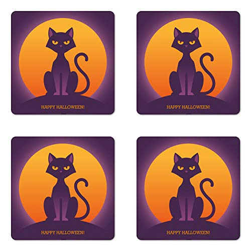 Lunarable Halloween Cat Coaster Set of 4, Spooky Bicolour Illustration of Abstract Kitty Front of Full Moon, Square Hardboard Gloss Coasters, Standard Size, Orange and Quartz]()