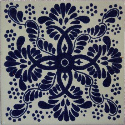 Amazon.com: 4,2 x 4,2 9 Pcs Azul Web mexicano de Talavera ...